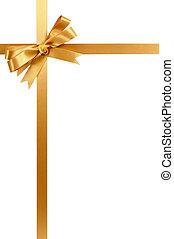or, cadeau, ruban, arc, vertical, premier coin, frontière,...