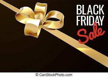 or, cadeau, vendredi, vente, arc, noir, conception, ruban