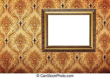 or, cadre graphique, papier peint, plaqué, retro, vendange
