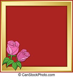 or, cadre, -, illustration, roses, vecteur, fond, rouges