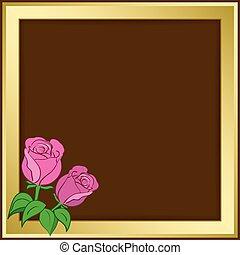 or, cadre, -, illustration, sombre, roses, vecteur, fond