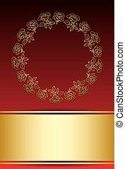 or, cadre, roses, vecteur, fond, rouges