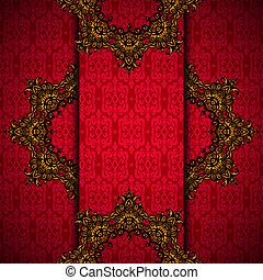 or, cadre, royal, vecteur, fond, rouges