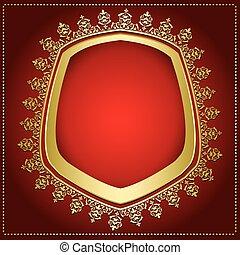 or, cadre, -, transparent, clair, vecteur, fond, ombre, intérieur, rouges