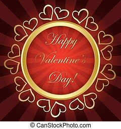 or, cadre, valentines, -, clair, vecteur, fond, jour, rouges, heureux