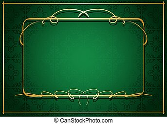 or, cadre, -, vecteur, arrière-plan vert