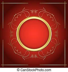 or, cadre, vecteur, fond, ombre, transparent, rouges