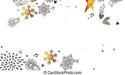 or, cerf, décoration, année, nouveau, noël carte