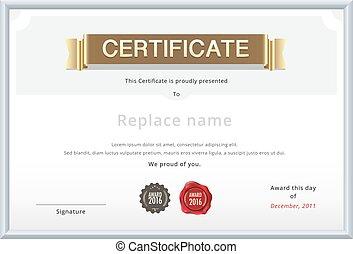 or, certificat, text., diplôme, stamp., échantillon, vecteur, papier, cire, international, size., education, template.