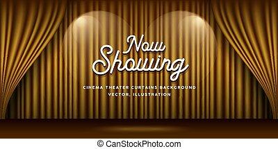 or, cinéma, bannière, éclairage, théâtre, fond, rideaux