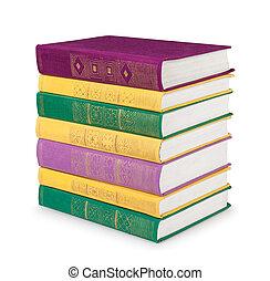 or, coloré, vendange, ornement, livres, blanc, pile, ba