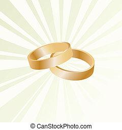 or, couple, anneaux, vecteur, fond, mariage
