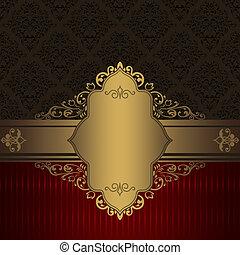 or, décoratif, fond, border., vendange