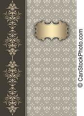 or, décoratif, fond, frame., vendange