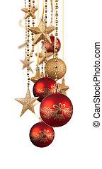 or, décorations, rouges