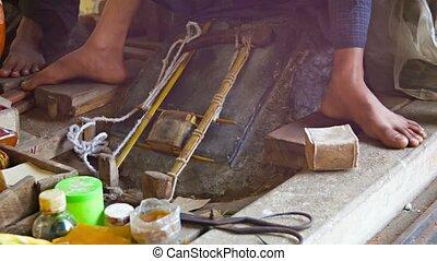 or, démodé, mince, manière, plaques, fabrication
