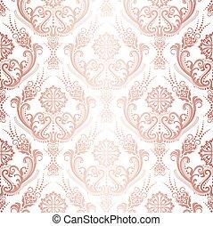 or, damassé, rose, papier peint, isolé, luxe, modèle, floral