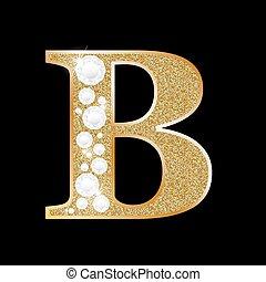 or, diamant, lettre b