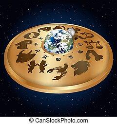 or, disque, à, signes, de, les, zodiaque, autour de, les, planète