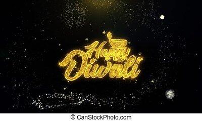 or, diwali, feux artifice, shubh, particules, écrit, ...
