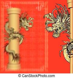 or, dragon, sur, a, poteau, dans, les, arrière-plan flou