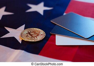 or, drapeau, bitcoin, nous, carte de débit, gabarit