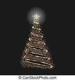 or, effect., symbole, arbre, joyeux, année, nouveau, vacances, scintillement, noël, celebration., heureux