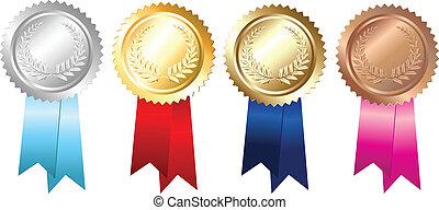 or, emblèmes, argent, bronze