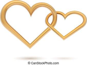 or, enchaîné, isolé, arrière-plan., vecteur, gabarit, cœurs, blanc
