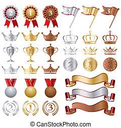 or, ensemble, récompenses, argent, bronze
