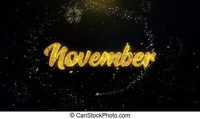 or, feux artifice, particules, écrit, exploser, novembre,...