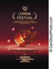 or, films, diapo, appareil photo, rouleau, pellicule, film, 35 mm, festival, affiche, cadre