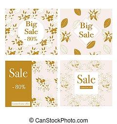 or, fleurs, quatre, ensemble, blanc, bannières, commercial, beau