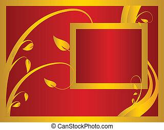 or, floral, fond, résumé, rouges