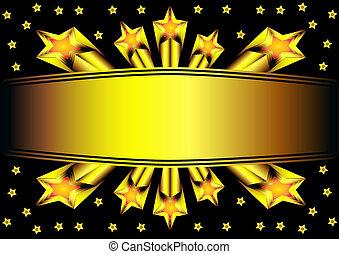 or, fond, étoile, étiquette