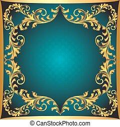 or, fond, ornement, cadre, bleu