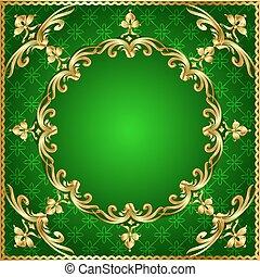 or, fond, vert, cadre, ornement