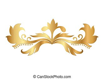 or, formé, vecteur, conception, feuilles, ornement