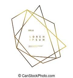 or, forme, géométrique, logo, fond, polyèdre, blanc
