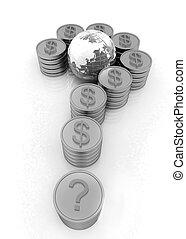 or, formulaire, question, pièces, dollar, marque, signe