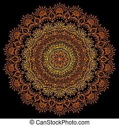 or, gradient, ornement, vecteur, colors., ethnique, mandala, texture., rouges