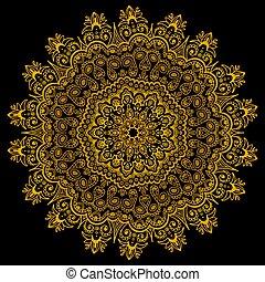 or, gradient, pattern., lace., vecteur, oriental, ethnique, compliqué