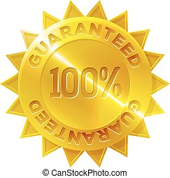 or, guaranteed, cent, 100, médaille, icône