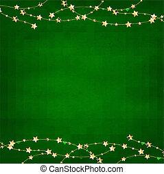 or, guirlande, étoiles, vert, retro, fond, noël