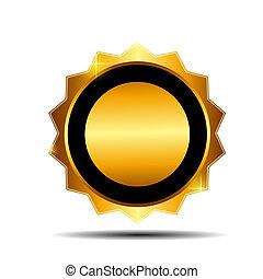 or, illustration, étiquette, vecteur, gabarit, signe