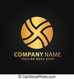 or, initiale, luxe, vecteur, logos, gabarit, 3d, illustration, cercle, conception