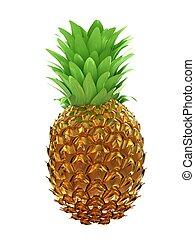 or, isolé, illustration, arrière-plan., ananas, blanc, 3d