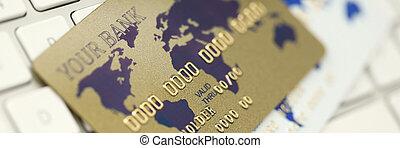 or, keboard, plastique, banque, blanc, carte