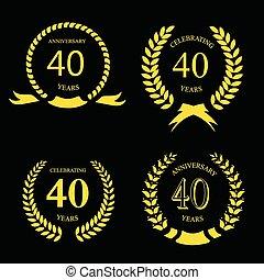 or, laurier, anniversaire, ensemble, quarante, années, couronne