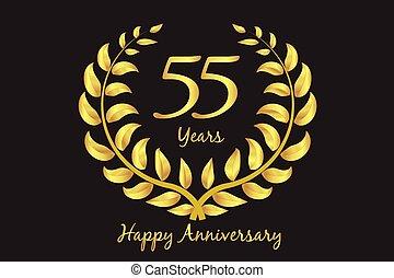 or, laurier, anniversaire, heureux, couronne, 55th